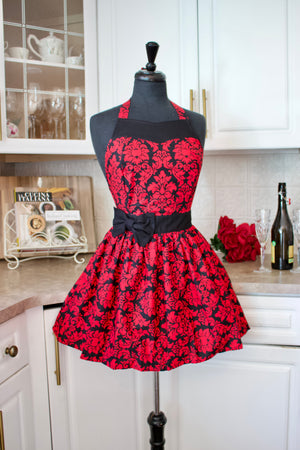 Party Girl ruby red damask apron