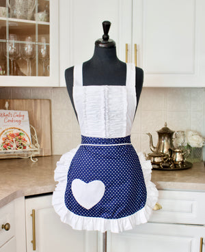 Vintage Darling Apron in Navy and White Dots