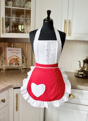 Vintage Darling Apron in Red Dots