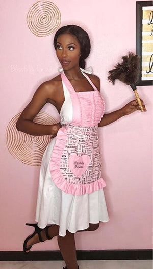 Vintage Darling Paris print apron in pink