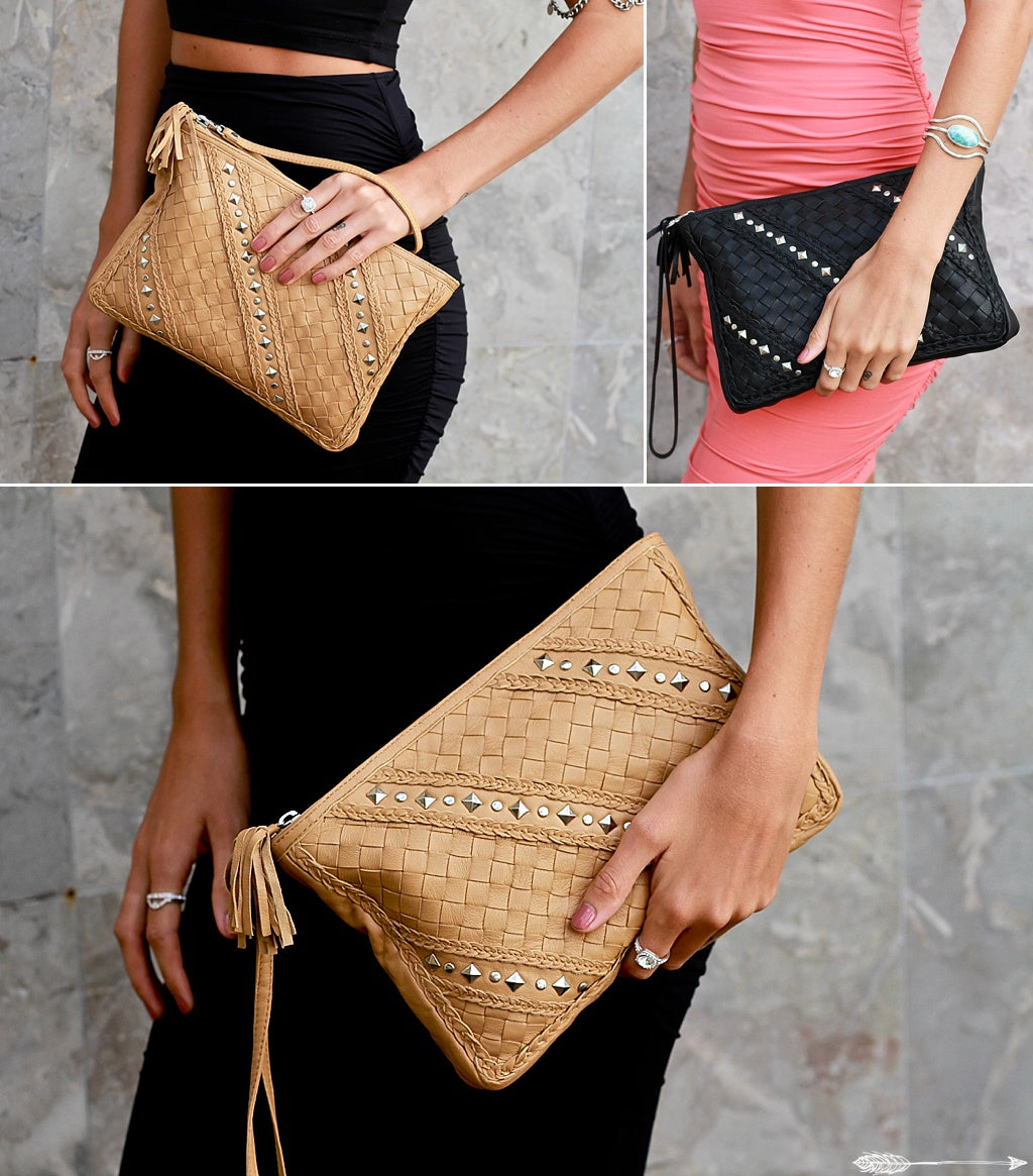 boho chic leather clutch