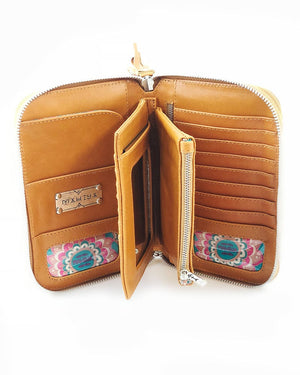 leather wallet with hamsa