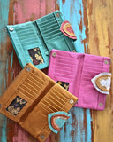 colored leather wallets