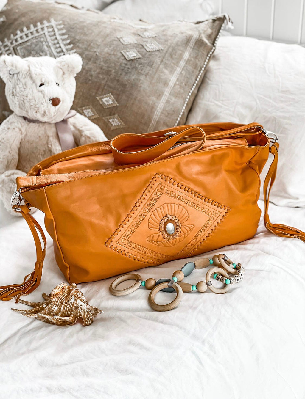 Isla Pearl Leather Baby Bag