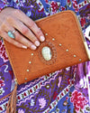 bohemian tan leather wallets