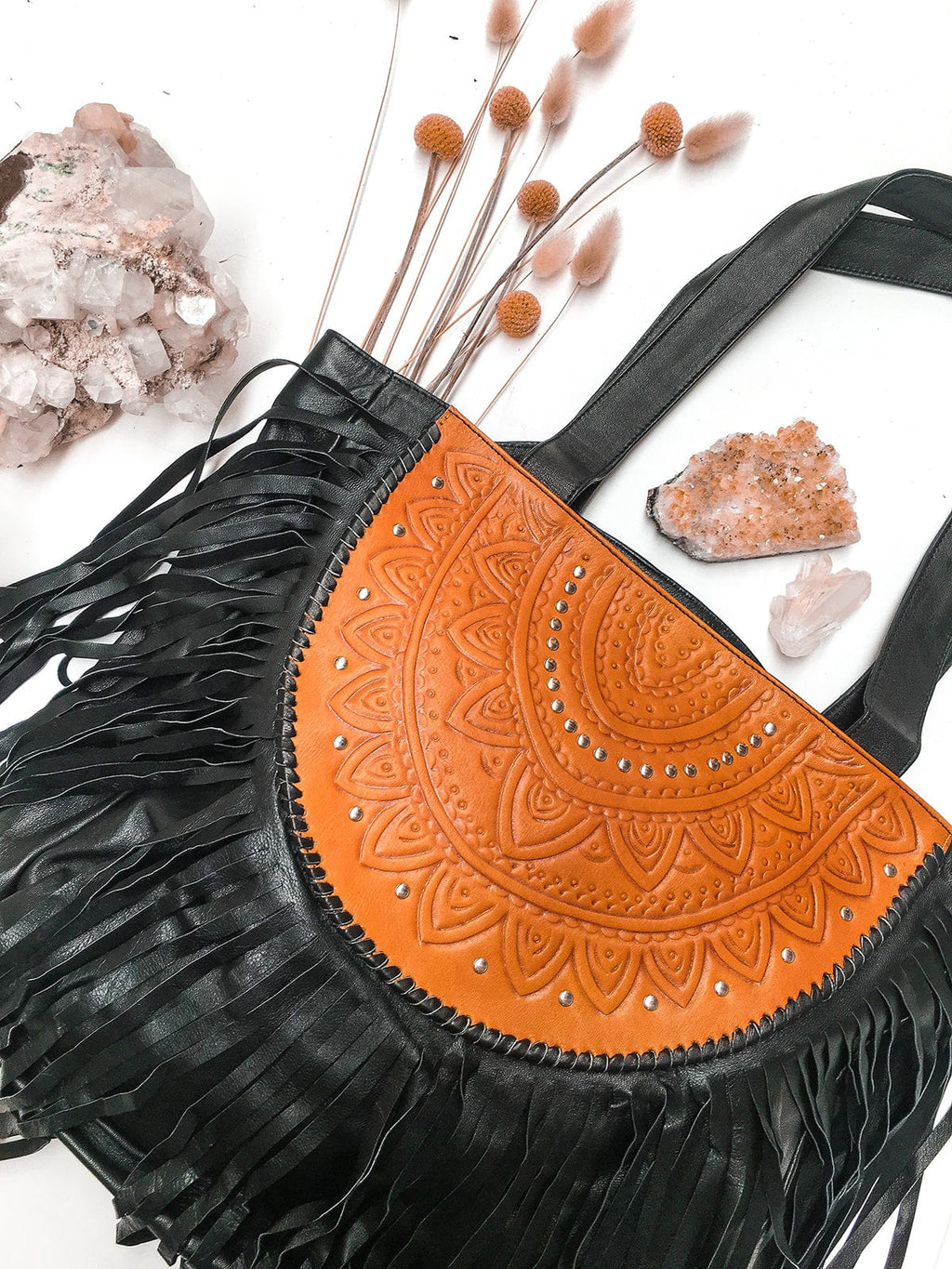 Ophelia Leather Boho Bag - Black & Tan