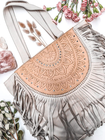 Ophelia Leather Boho Bag (Fringe Free) - Tan