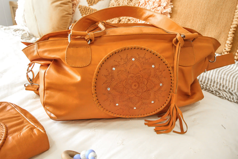 Bambino Leather Baby Bag - tan