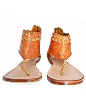 stylish tan leather sandals