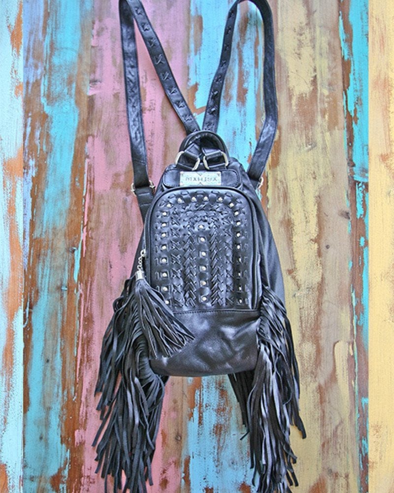 black leather backpack australia