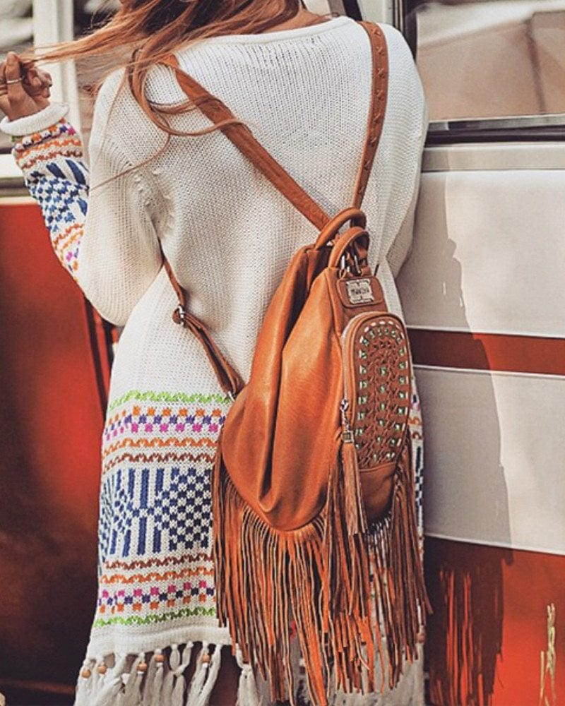 boho leather backpack