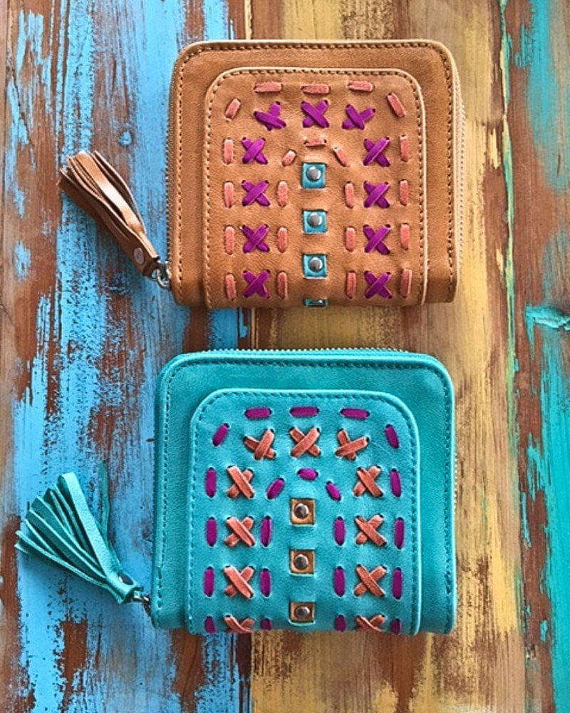 colorful leather purses