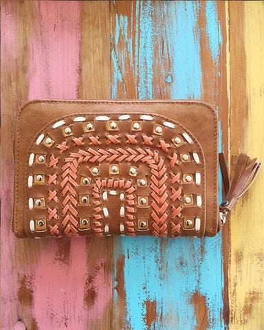 Tallara Earth Leather Wallet - Turquoise / Chocolate / Tan