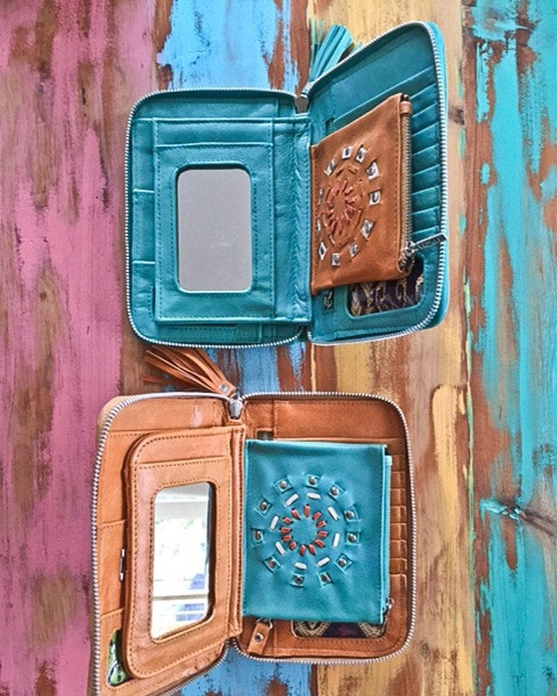 tooled leather wallets womens
