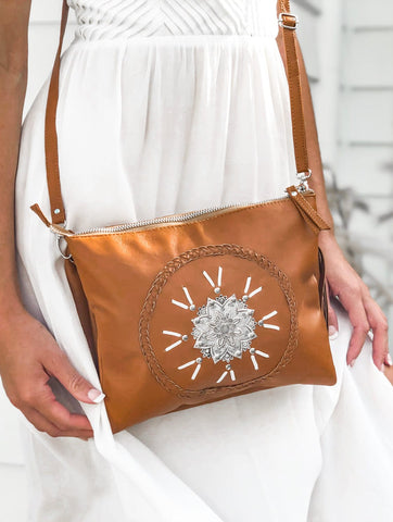 Vintage Rose Bag & Free Spirit Wallet Set  - Tan
