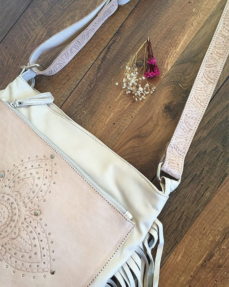 pink and white leather bags