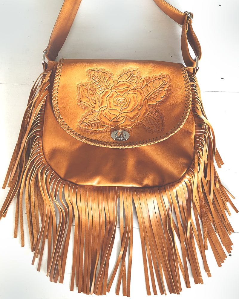 rose embroidered leather bag