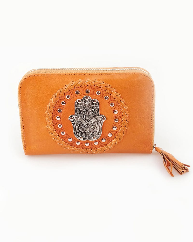 hamsa tan leather wallet
