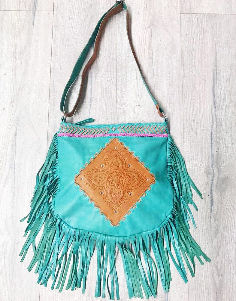 turquoise leather fringe bag