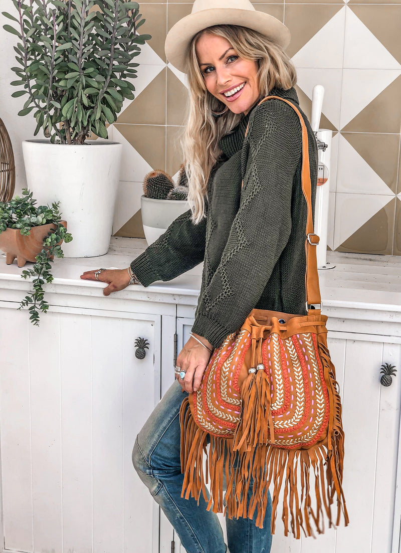 Dream Weaver Bag Fringed - Tan
