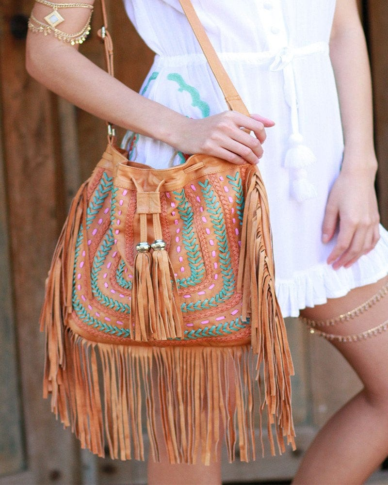 tan leather festival bags