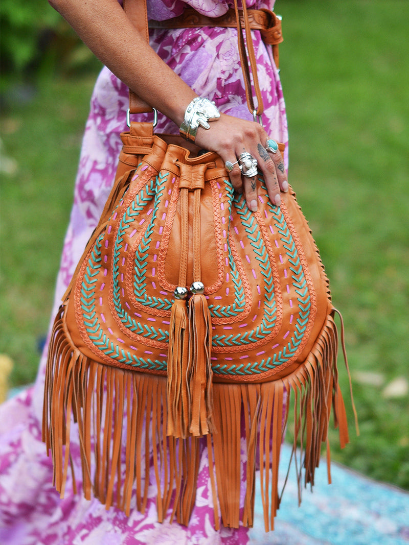 Dream Weaver Bag & Ellki Wallet Set - (Fringed) Tan