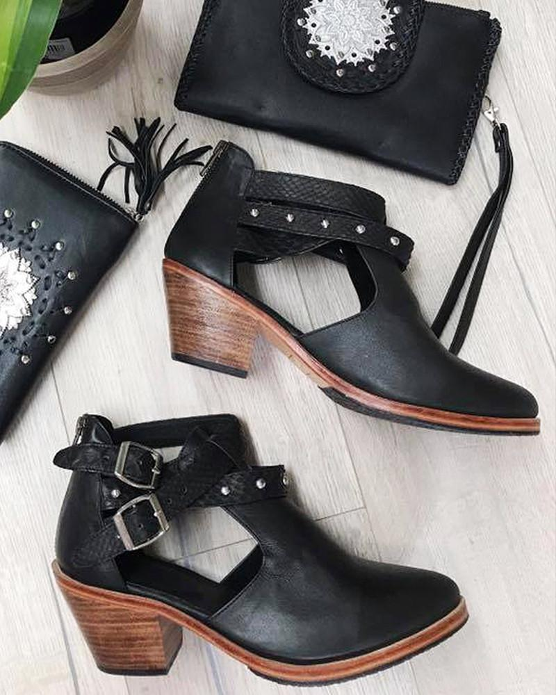 black leather womens boots