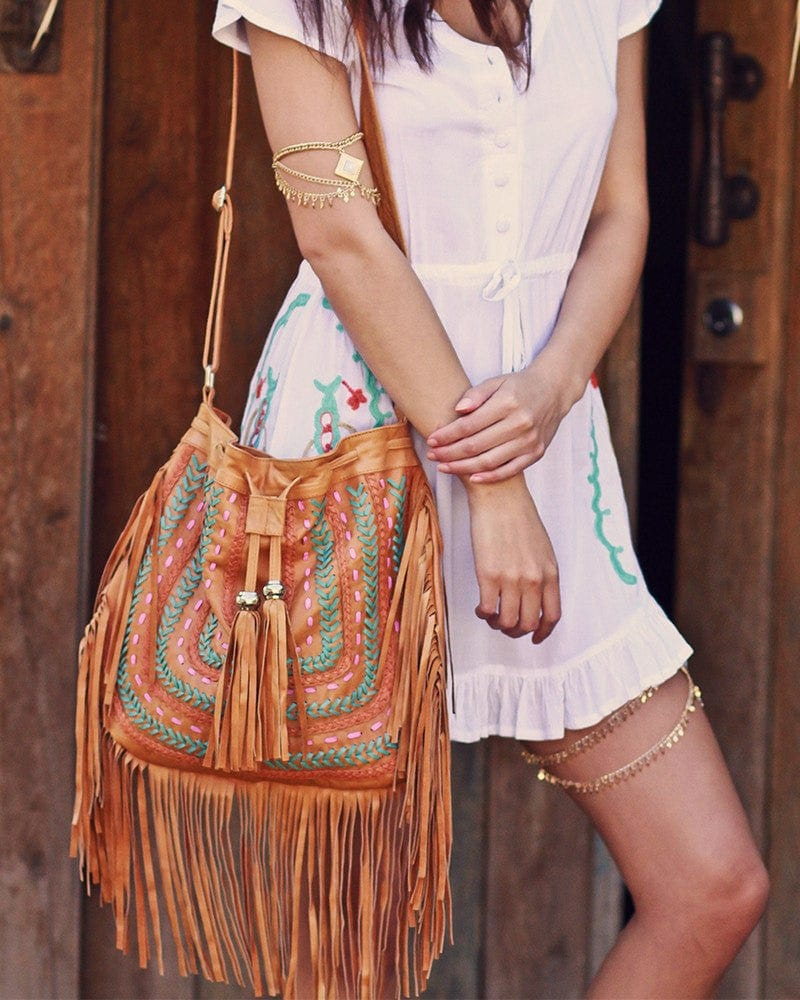 tan leather fringe handbags