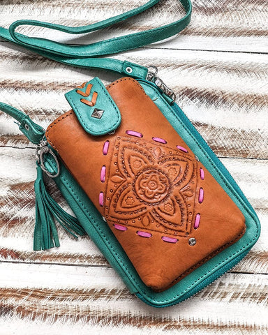 Falls Phone Pouch Bag - Tan and Turquoise