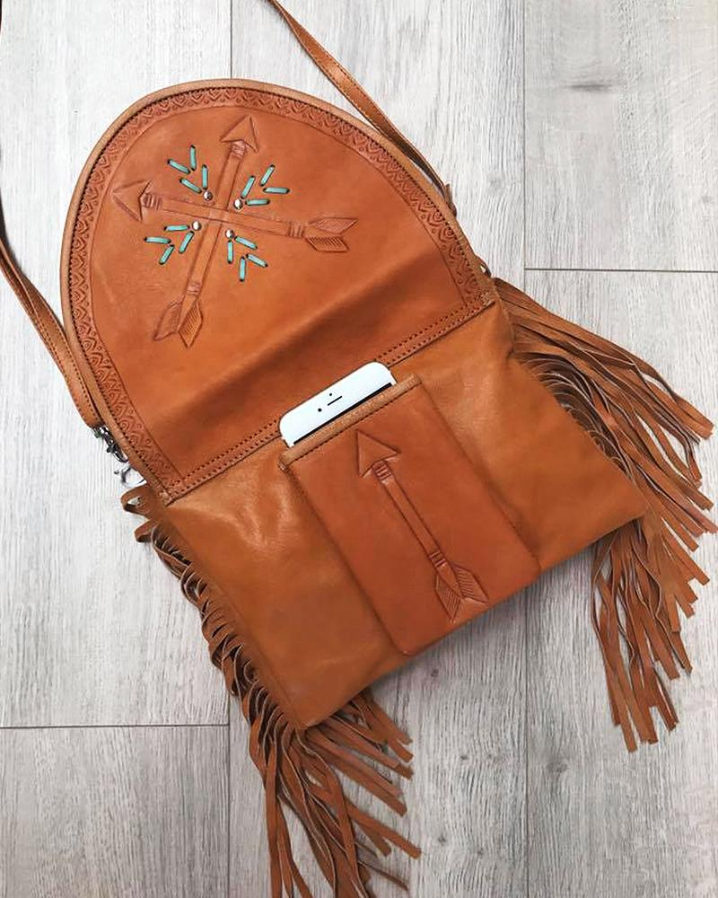 tan leather arrow purse