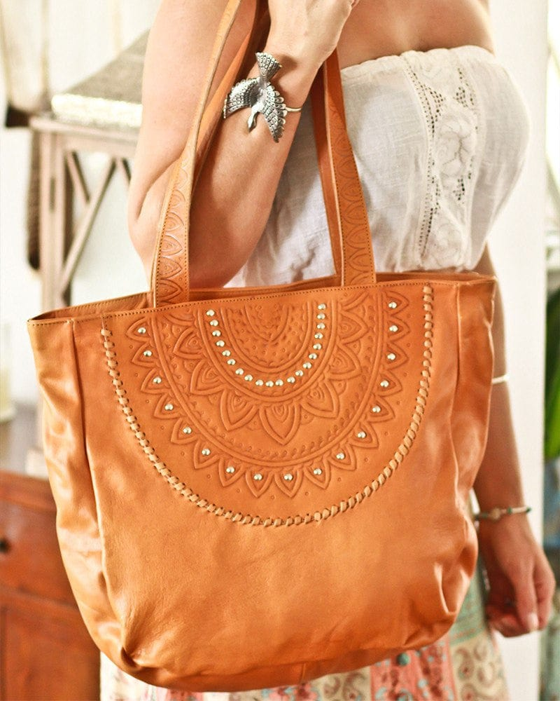 hand tooled tote bags