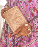 Harper Hand Tooled Wallet - Tan and Cream