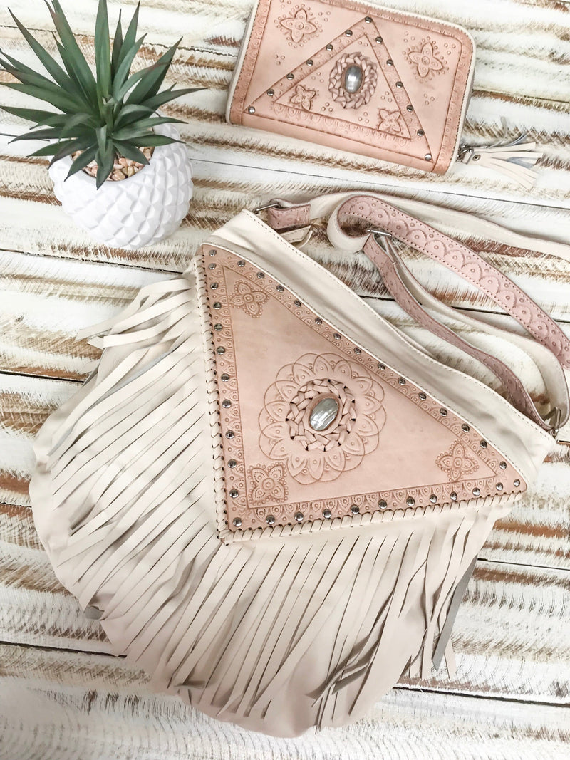 Harlow Fringed Bag & Harper Wallet Set - Cream