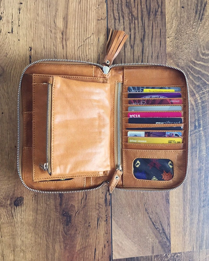 colourful leather wallets