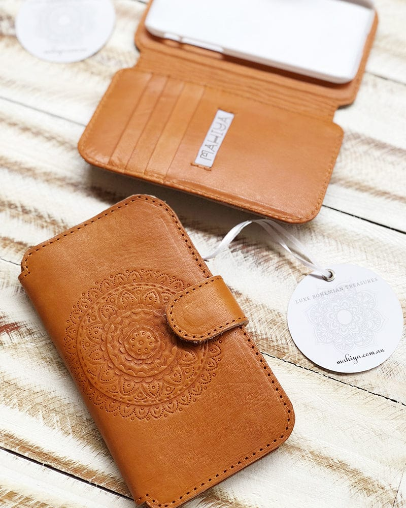 mandala leather phone case