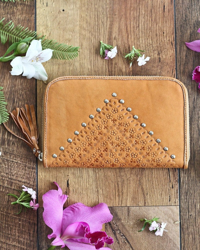 womens studded leather wallets