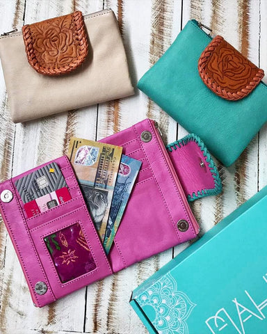 Kaya Leather Wallet - Cream / Turquoise / Pink
