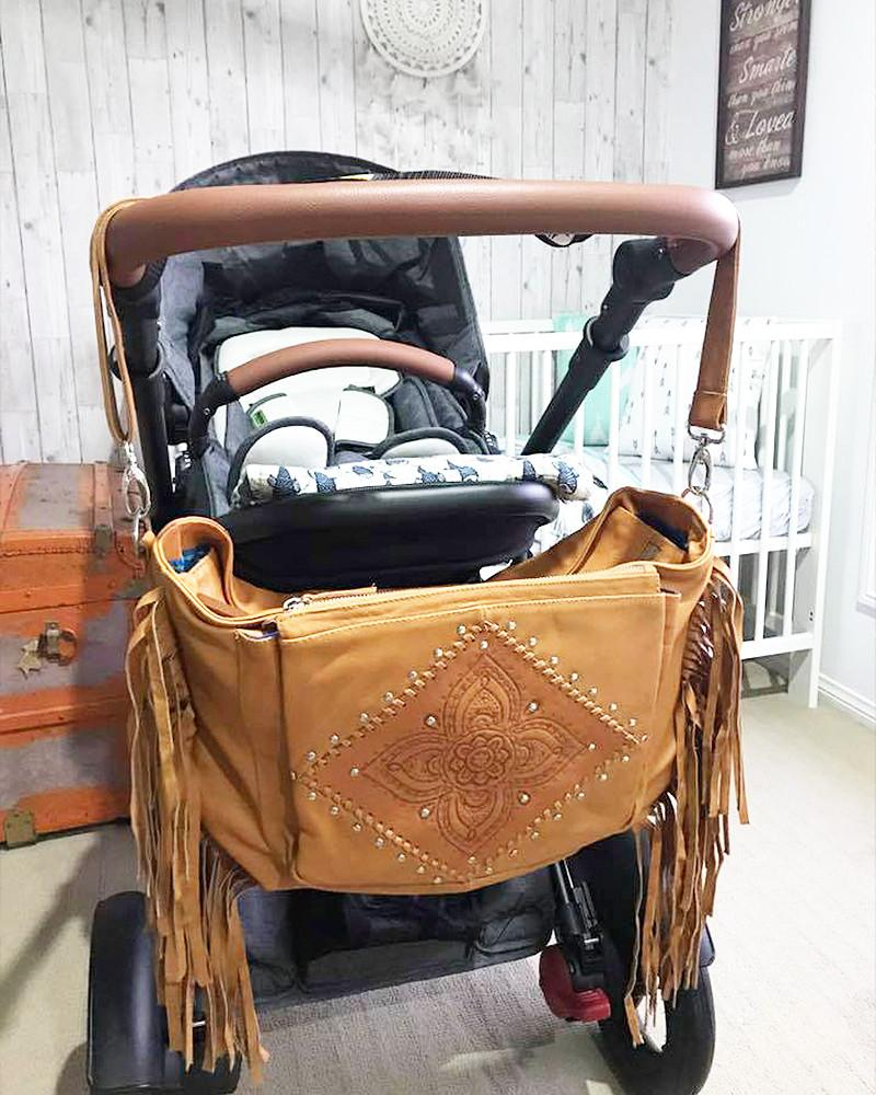 bohemian leather baby bag