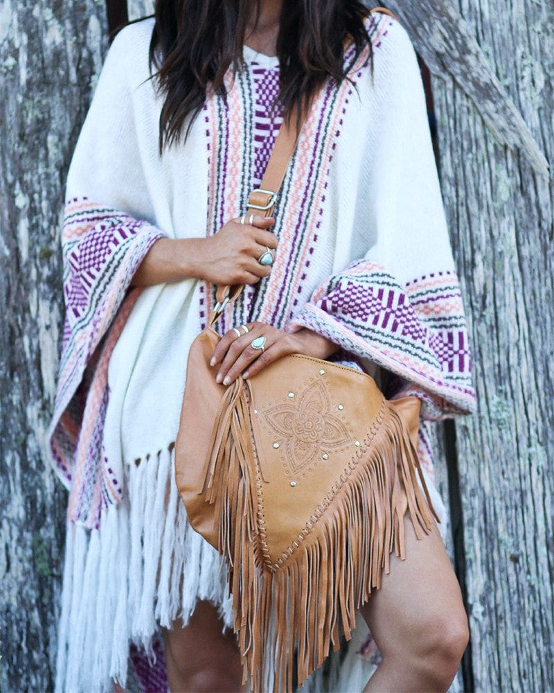 fringe tan leather handbag