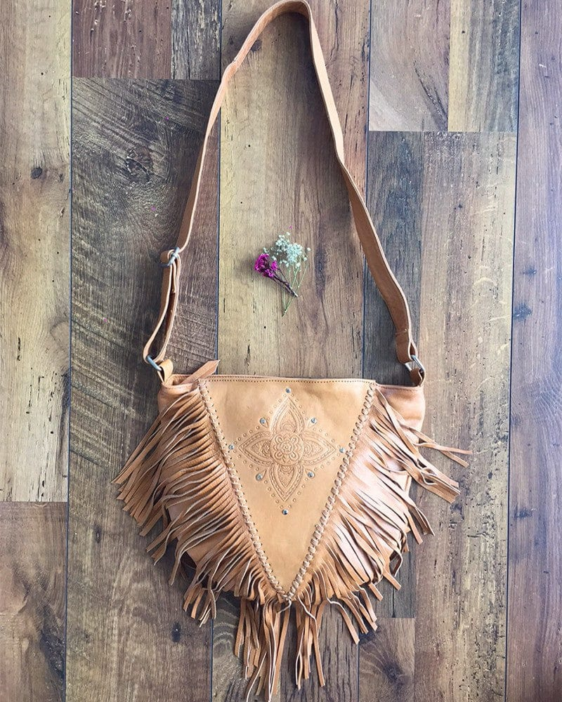 fringed leather purse