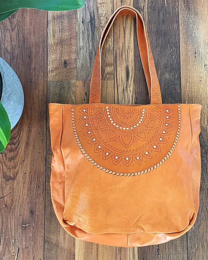 fringe free tan leather tote