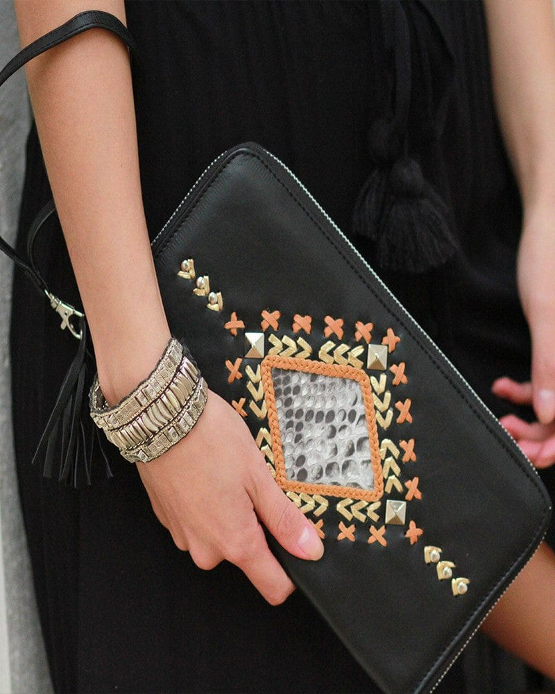 black leather snakeskin clutch