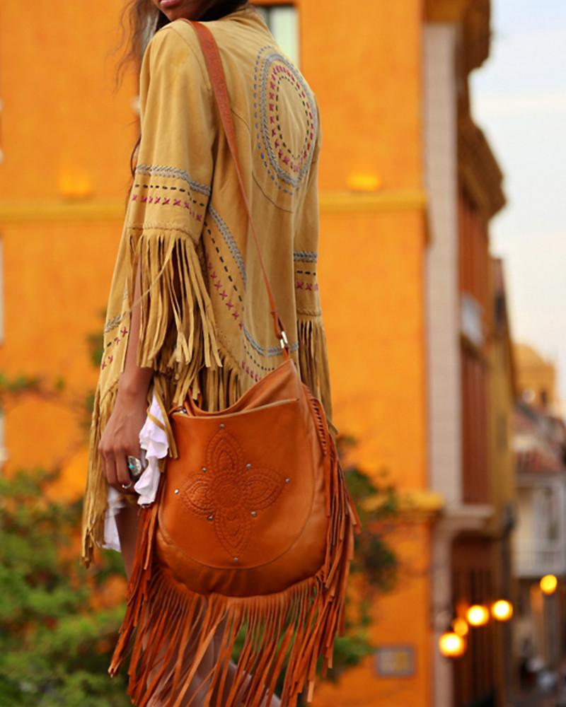 leather bag with fringing