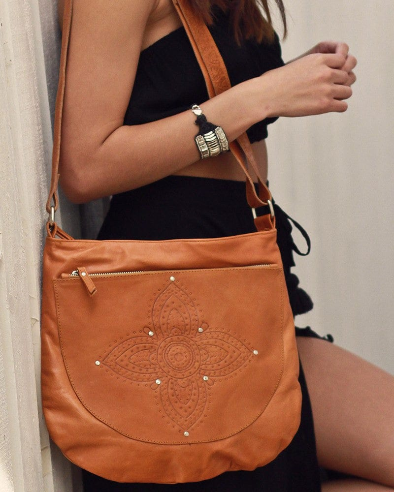 mandala tan leather bag