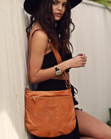 Spellbound Aztec Leather Bag - Black / Tan / Rust