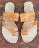 tan leather sandals