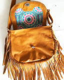 tan leather fringe purse