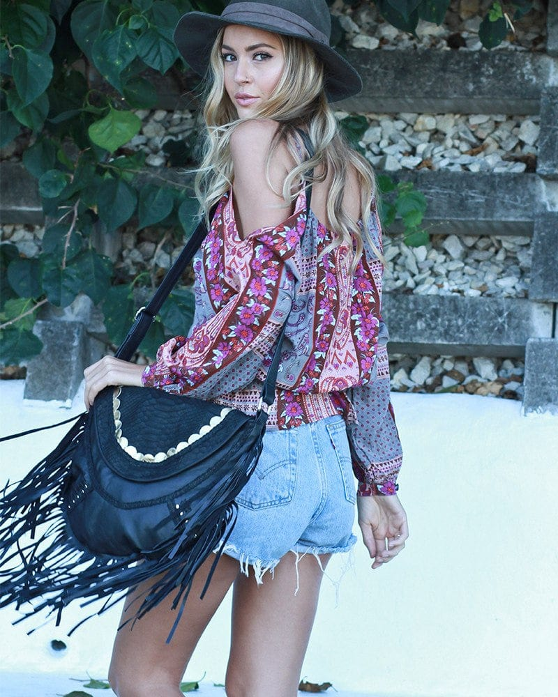 bohemian chic leather purse