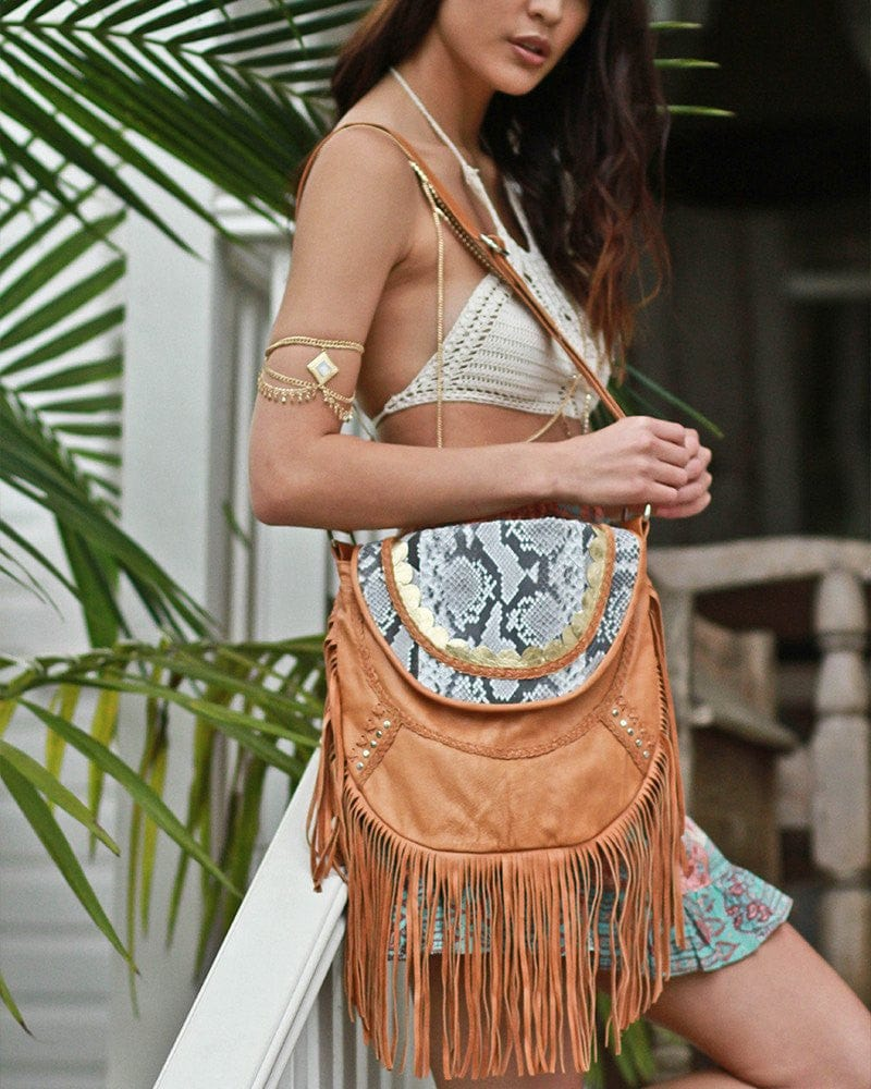 boho leather fringe bags