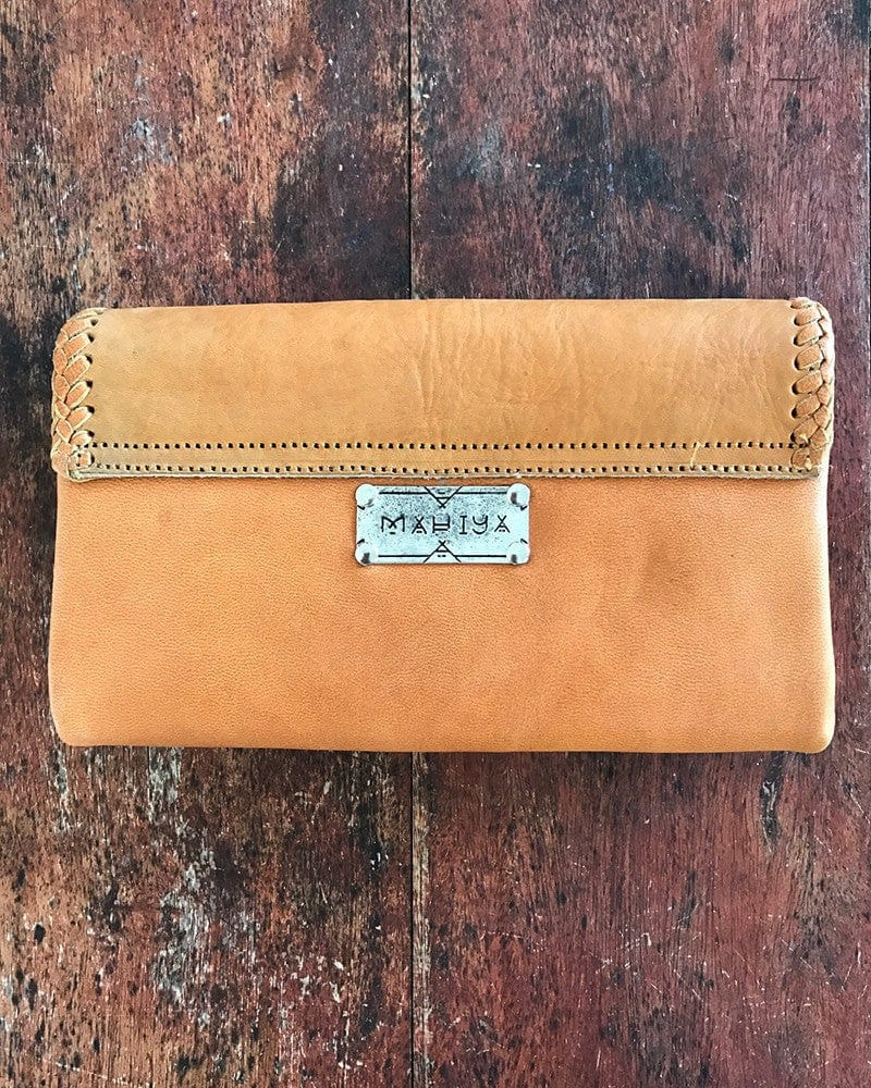 intricate tan leather wallet